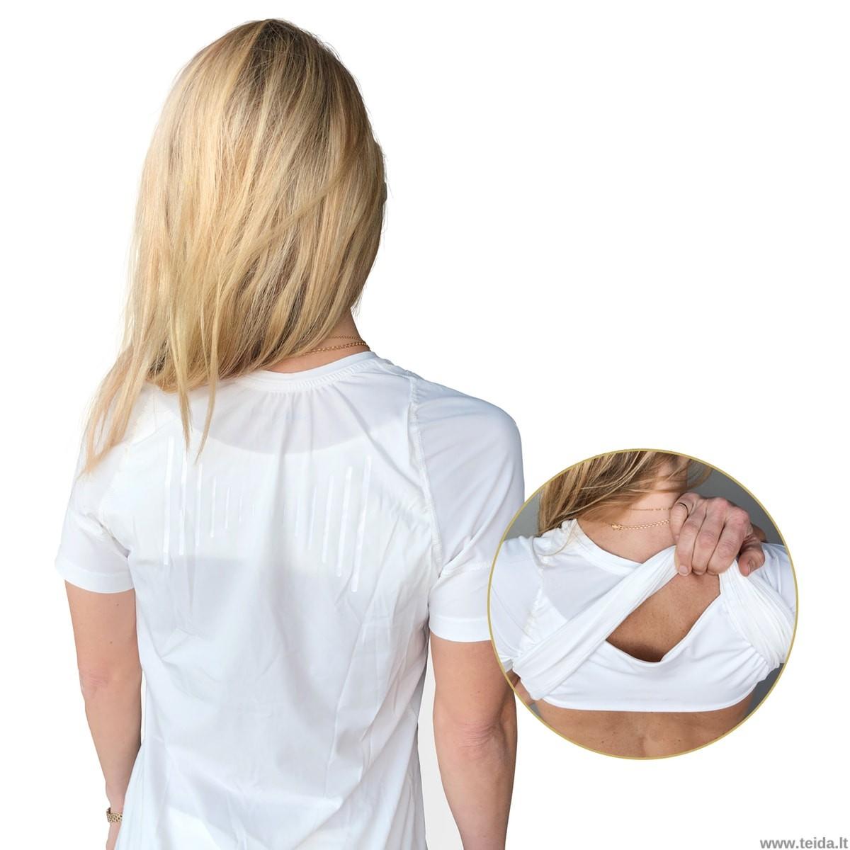 Laikyseną koreguojantys marškinėliai moterims, baltos spalvos, dydis S