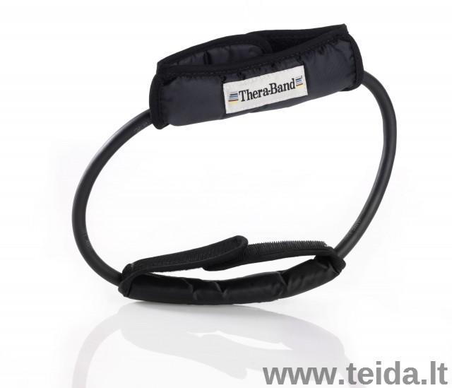 Thera-band apvali elastinė juosta su laikikliais, juoda