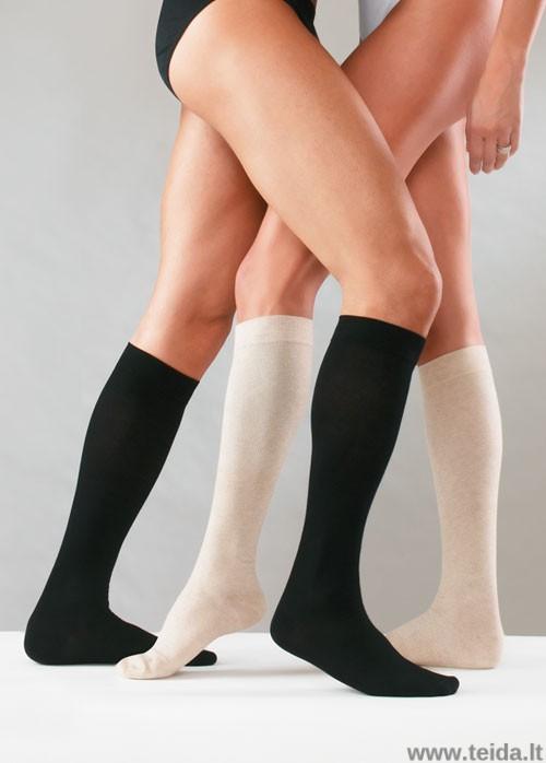Kompresinės kojinės su medvilne, juodos spalvos, dydis XL