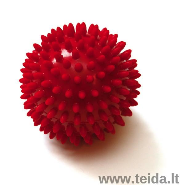 Masažo kamuoliukas SISSEL® Spiky Ball 9 cm, raudonas