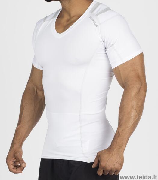 Laikyseną koreguojantys marškinėliai vyrams, baltos spalvos, dydis M
