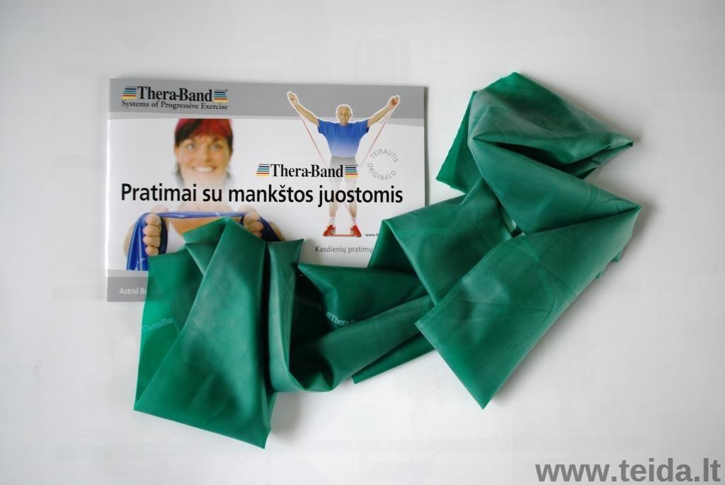 Thera-Band elastinė juosta su lateksu, žalia, ilgis 1,8 m