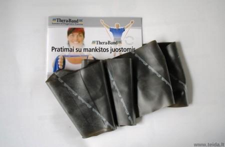 Thera-Band elastinė juosta su lateksu, juoda, ilgis 1,8 m