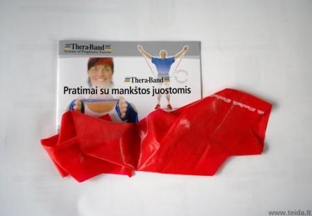 Thera-Band elastinė juosta su lateksu, raudona, ilgis 1,8 m